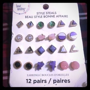 NWT 12 pairs of modern stone style earrings